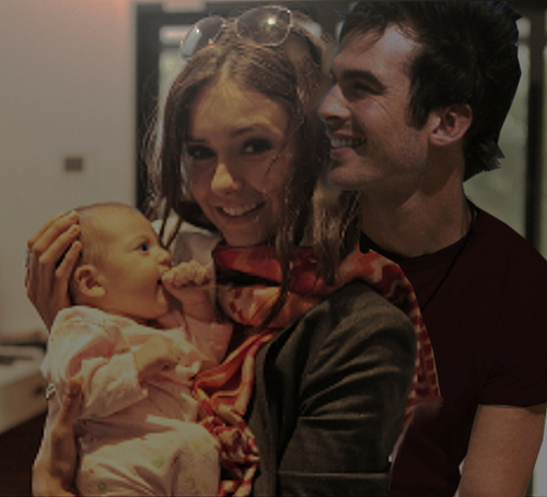 Damon & Elena پیپر وال probably containing a neonate and a portrait entitled Photo-Manip DE have a baby