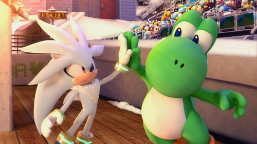 Silver the Hedgehog wallpaper titled Silver Hi5 Yoshi