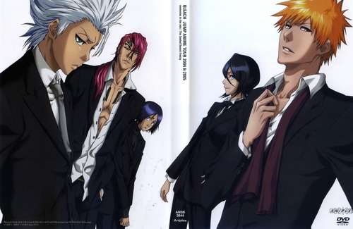 Bleach anime hình nền possibly with a business suit and a well dressed person titled Toshirou-Renji-Rukia-Ichigo