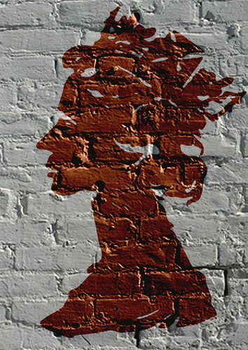 Modern Art wallpaper possibly with a bricks and mortar titled by Dominic Joyce