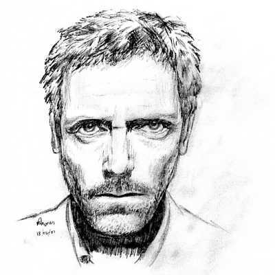 Dr. Gregory House karatasi la kupamba ukuta probably containing a portrait called hugh laurie, house sketch