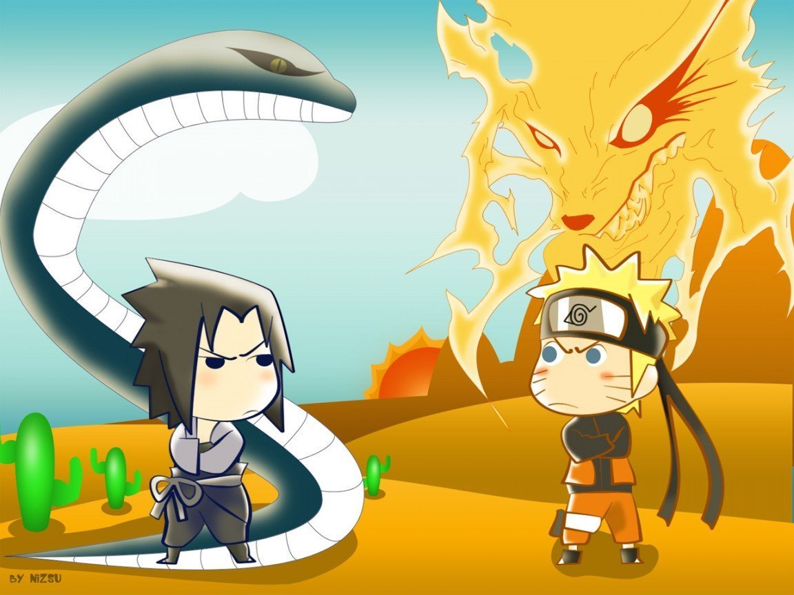 Sasuke Mini Vs Naruto Mini Sasuke Vs Naruto Wallpaper