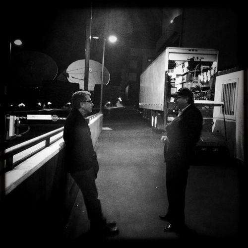 """A bit of night air between setups for Tim and The Moose"""