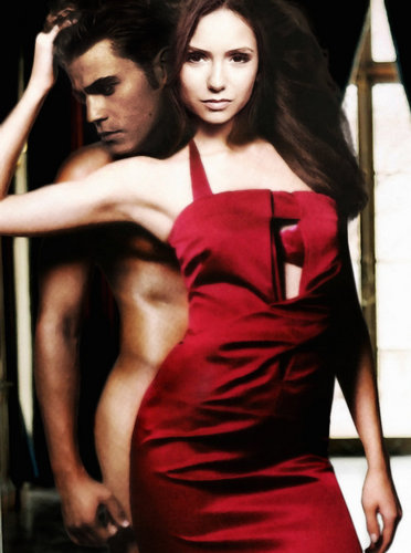 Stefan & Elena achtergrond with a avondeten, diner dress, a cocktail dress, and a strapless titled ♥Stefan&Elena Manip♥