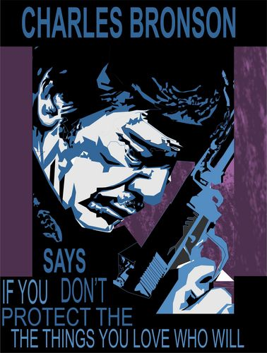 film wallpaper containing anime titled Charles Bronson PSA poster