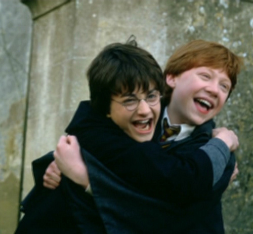 Dan and Rupert on set of the first film!