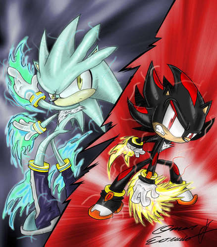 Shadow The Hedgehog wallpaper probably containing anime called Dark vs Light
