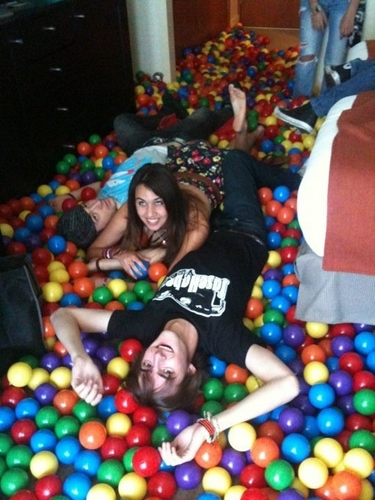 Davedays, a girl & and a dude in a ballpit