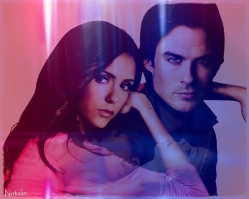 el diario de los vampiros fondo de pantalla probably with a portrait titled Elena & Damon