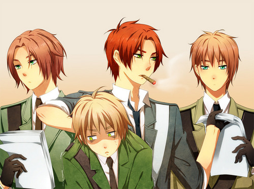Hetalia wallpaper with anime entitled N. Ireland, Scotland, England, and S. Ireland