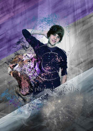 Justin Bieber and a tiger foto pas aan