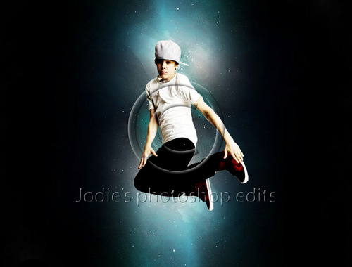 Justin Bieber wallpaper possibly containing a sign and a wicket entitled Justin Bieber in space photo edit