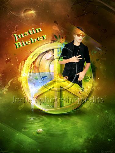 Justin Bieber peace sign 사진 편집