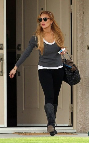 Lindsay Lohan was spotted stepping out of her sober living house in Rancho Mirage