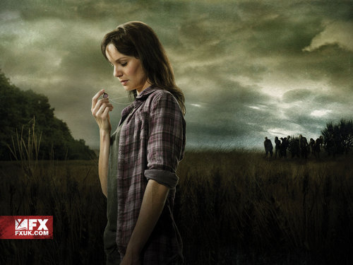 Walking Dead fond d'écran possibly containing an outerwear, long trousers, and a grainfield titled Lori Grimes