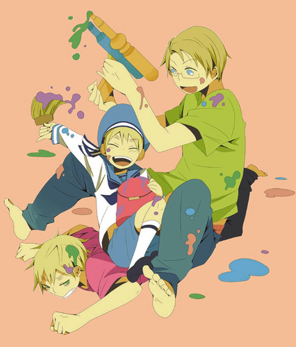 Hetalia wallpaper containing anime entitled Paint war!