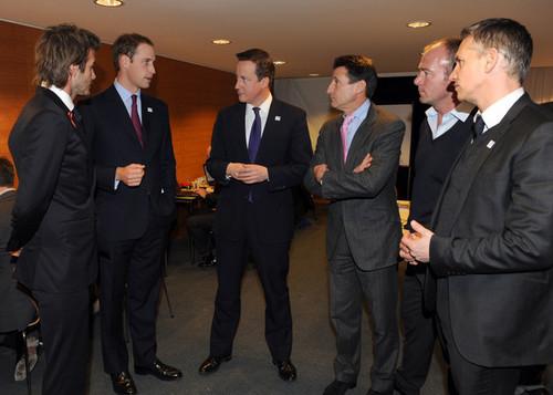 Prince William and British Prime Minister David Cameron j