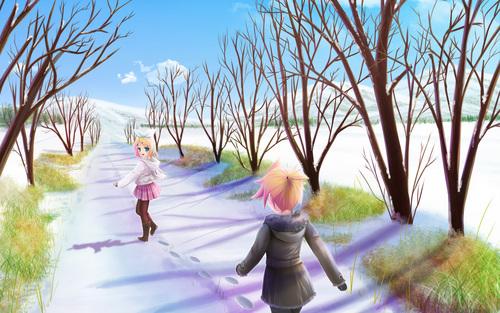 Rin & Len: a snowy trail