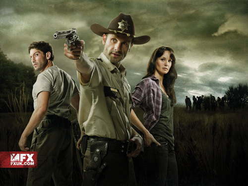 The Walking Dead wallpaper containing a boater, a green beret, and a fedora entitled Shane, Rick & Lori