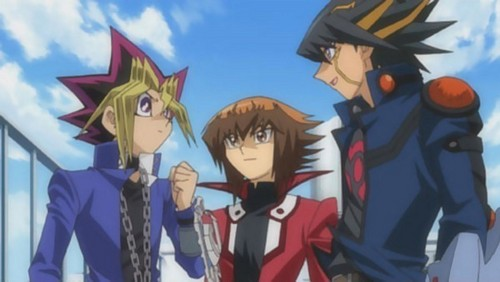 Yu-Gi-Oh fond d'écran possibly containing animé entitled Yami Yugi, Jaden Yuki e Yusei Fudo 4