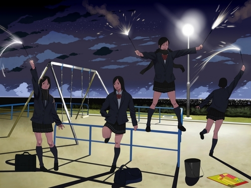 the playground at night - anime Photo