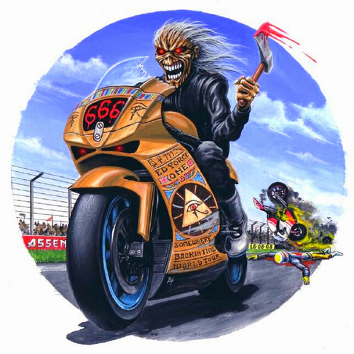 Iron Maiden پیپر وال with a موٹر سائیکل, موٹرکیکلانگ and a motorcycle cop entitled iron maiden