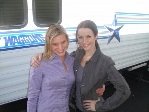 24 wallpaper containing a business suit titled Annie & Katee Sackhoff on S8 Set