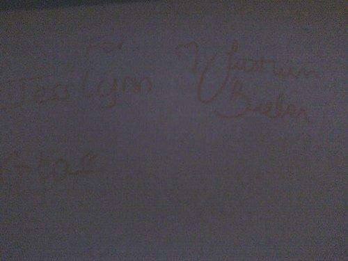 Autograph that Justin Bieber gave me Jess Lynn Glass