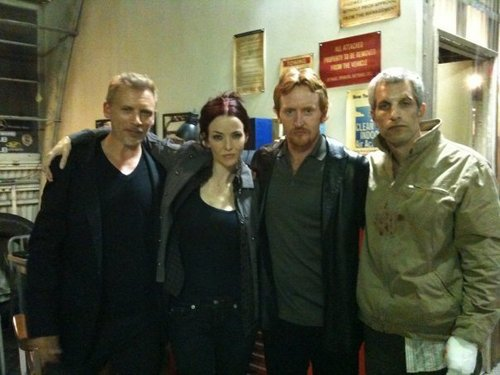 Callum Keith Rennie, Annie, Tony Curran, & Jon Sklaroff on S8 Set