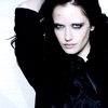 Eva Green photo probably with a cloak, a capote, and a portrait entitled Eva
