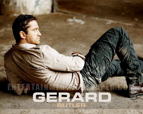 Gerard Butler wallpaper probably with a hip boot and a sign entitled Gerard Butler