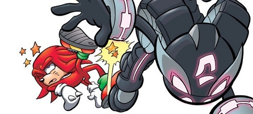 Knuckles getting kicked kwa Shade (Archie Comics)