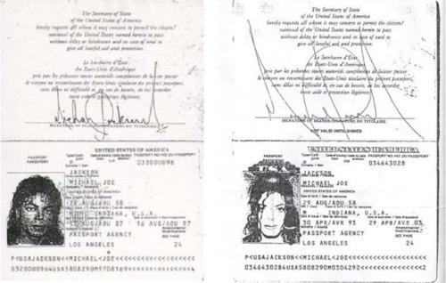 Michael Jackson's passports.