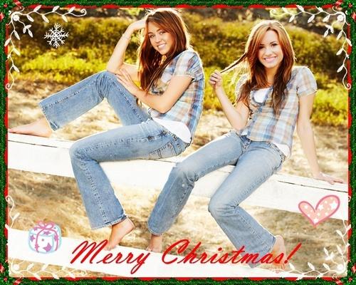 Miley & Demi navidad fondo de pantalla