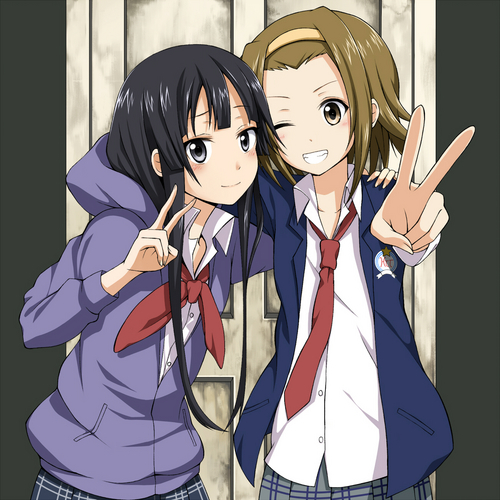 K-ON! wallpaper containing anime titled Mio & Ritsu