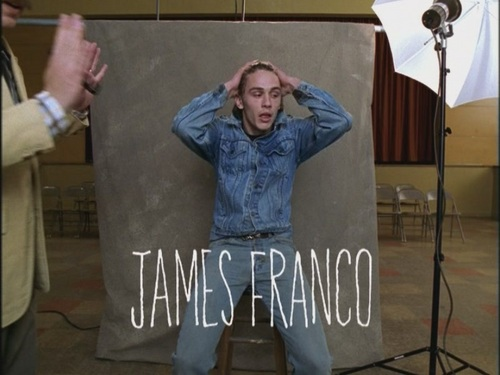 Freaks and Geeks wallpaper possibly with a packing box, a sign, and a tepee called Opening Credits:  James Franco