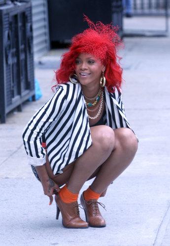 Rihanna on the set of muziki Video 'What's my Name'