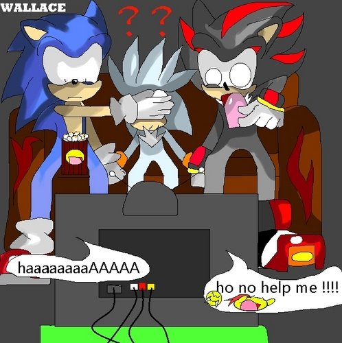 Nhím Sonic hình nền containing anime titled Shaodw: Cover his eyes Sonic: ok (covers them) Silver: But what is it.....XD