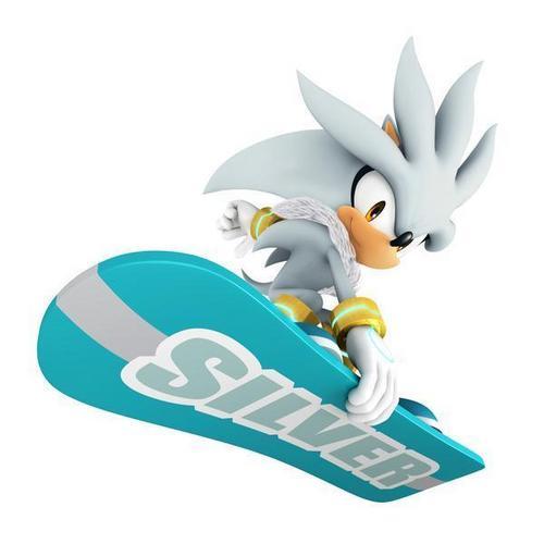 silver riding a snowboard