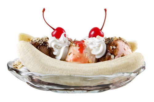 Ice Cream wallpaper containing a banana split, a cupcake, and a split called Banana Split