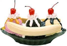 Ice Cream wallpaper probably with a cupcake and a frosted layer cake titled Banana Split