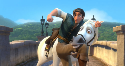 Flynn Rider wallpaper containing a horse trail, a horse wrangler, and a lippizan entitled Flynn and Maximus