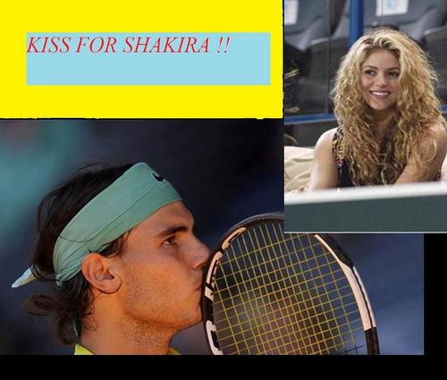 Tennis wallpaper containing a tennis racket, a tennis player, and a tennis pro called KISS FOR SHAKIRA !!