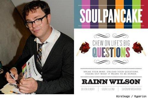 Rainn Wilson wallpaper with a business suit and a newspaper titled Rainn Signing SoulPancake