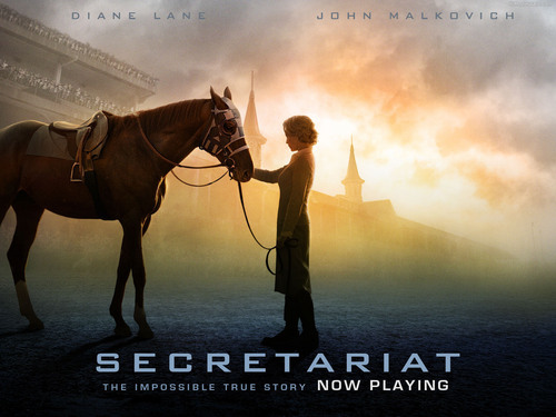 films achtergrond with a horse wrangler, a horse trail, and a steeplechaser, steeplechaseloper titled Secretariat