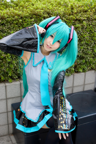 The cosplay of Miku Hatsune