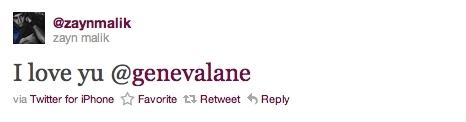 Zayns প্রণয় Twit 2 Geneva Awww (Zayneva?) x