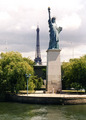 eiffel tower and statue of liberty - paris photo