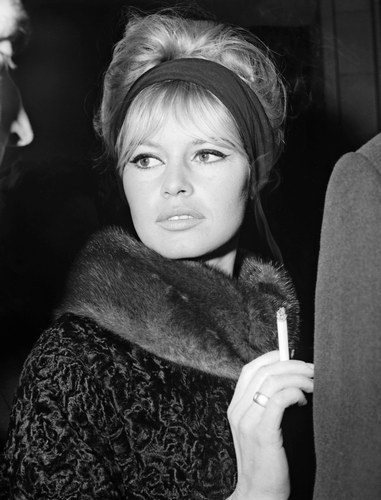 Brigitte Bardot karatasi la kupamba ukuta with a fur, manyoya coat, a mink, and a sable kanzu, koti entitled winter BB