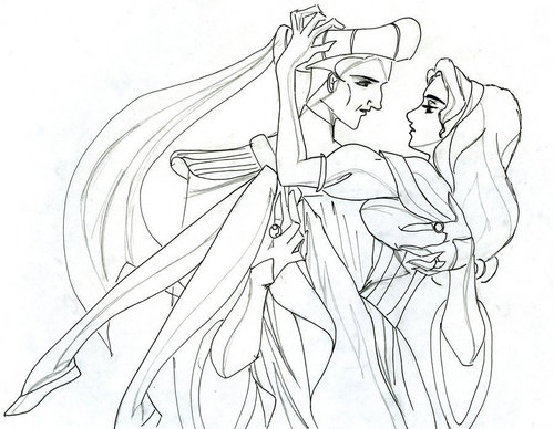 """I Choose You"" Line Art with Frollo and Esmeralda"